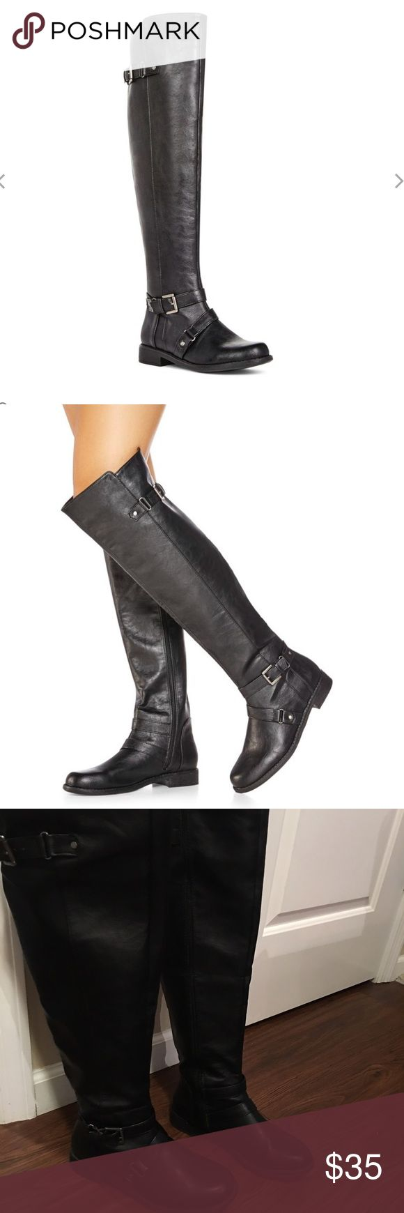 Black leather knee high boots Size 8 JustFab Shoes Ankle Boots & Booties