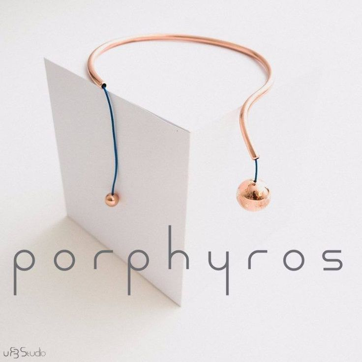 porphyros :: phi necklace :: copper, silver, leather
