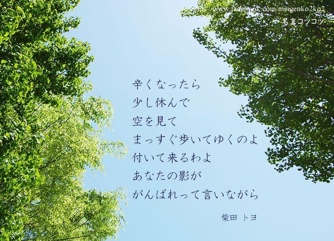 辛くなったら少し休んで 空を見てまっすぐ歩いてゆくのよ 付いて来るわよ あなたの影が がんばれって言いながら 柴田 トヨ (百歳詩人)