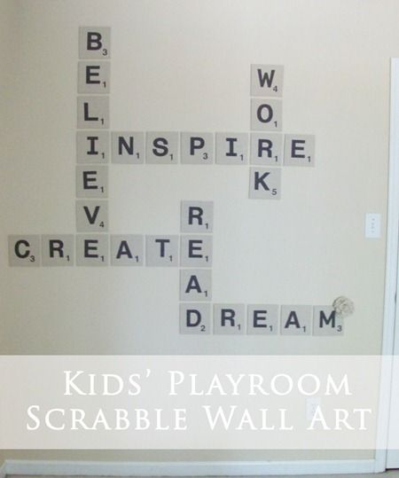 kids wall artKids Playrooms, Games Room, Crafts Room, Kids Room, Kid Rooms, Diy Wall Art, Playrooms Art, Giants Scrabble, Scrabble Wall
