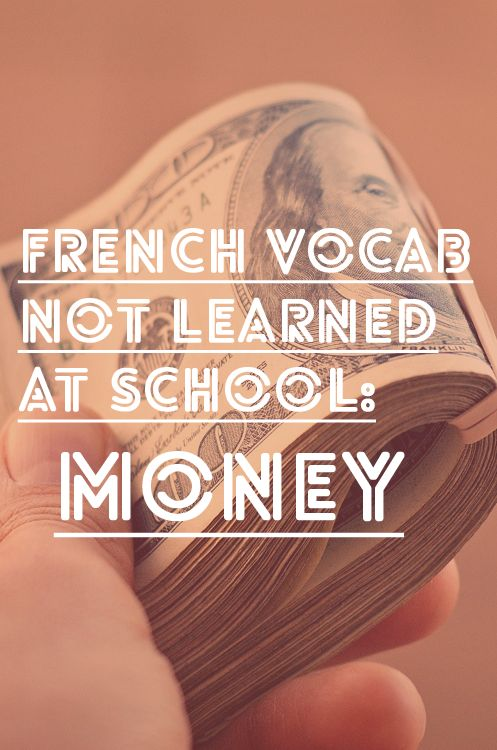 French Vocabulary not learned at school: Money. A start, there's still more! Brique, baton, foin... Pas un sou !