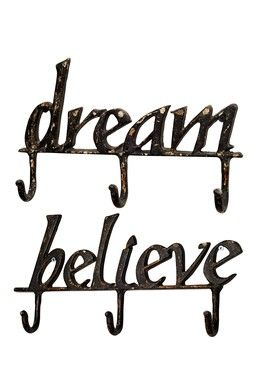 $20.00$45.00 Dream and Believe Wall Hooks