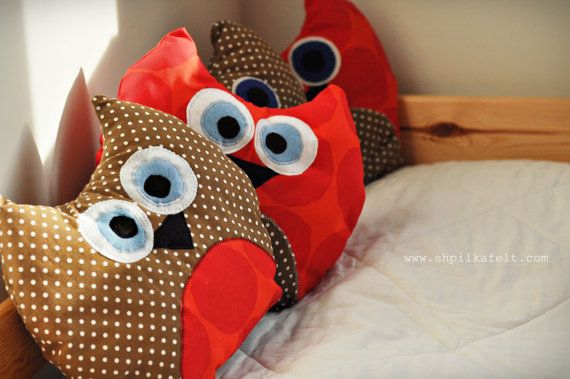 Ready to ship  Plush Brown & Red Owl Pillow with by ShpilkaFelt, $29.00
