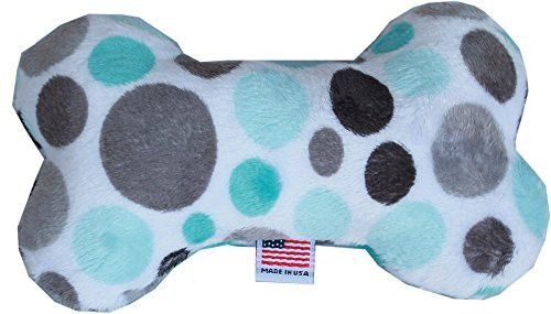 "6"" Plush Bone Dog Toy Aqua Party Dots"