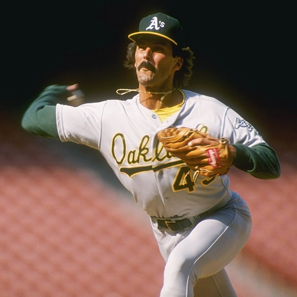 Pitcher Dennis Eckersley of the Oakland Athletics prepares to throw the ball in 1989. (Photo by Tim de Frisco/Allsport/Getty)