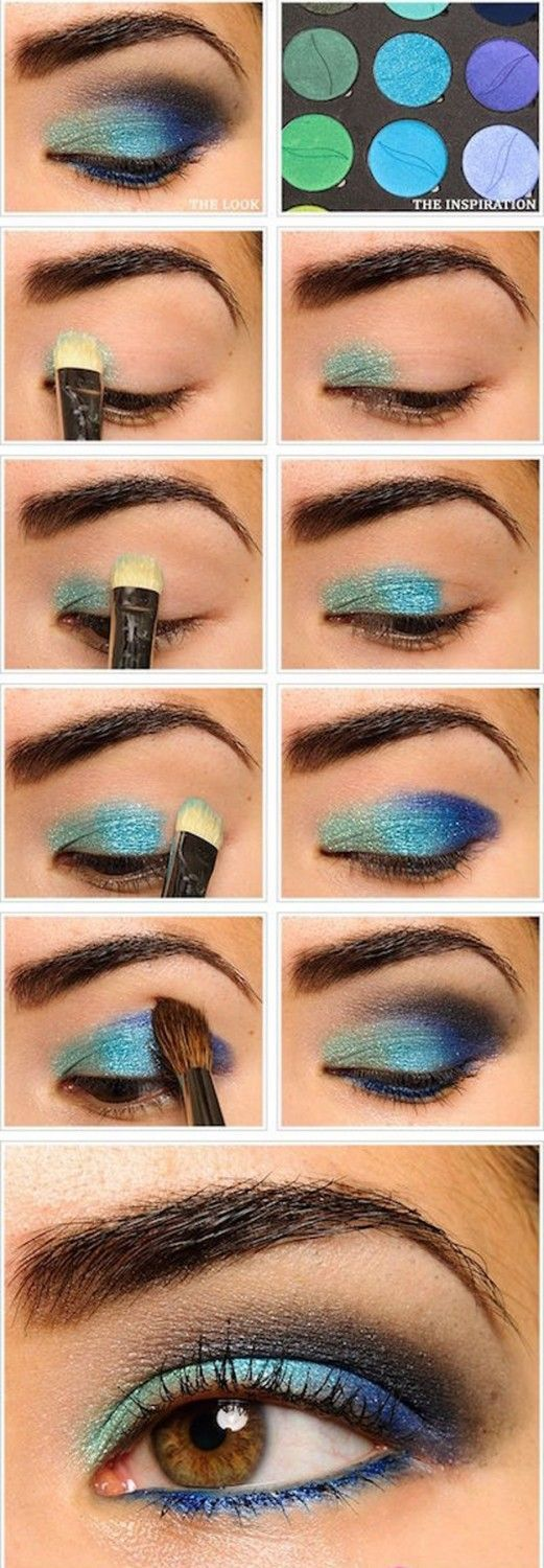 Blue Eyeshadow   Eyeshadow Tutorials for Brown Eyes -    How To Make Eyes Look Sexy And Dramatic by Makeup Tutorials at http://makeuptutorials.com/12-colorful-eyeshadow-tutorials-brown-eyes/