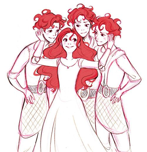 Merida and the boys in about ten years. Only problem is, Merida looks like she's maybe aged two or three years in that time x)