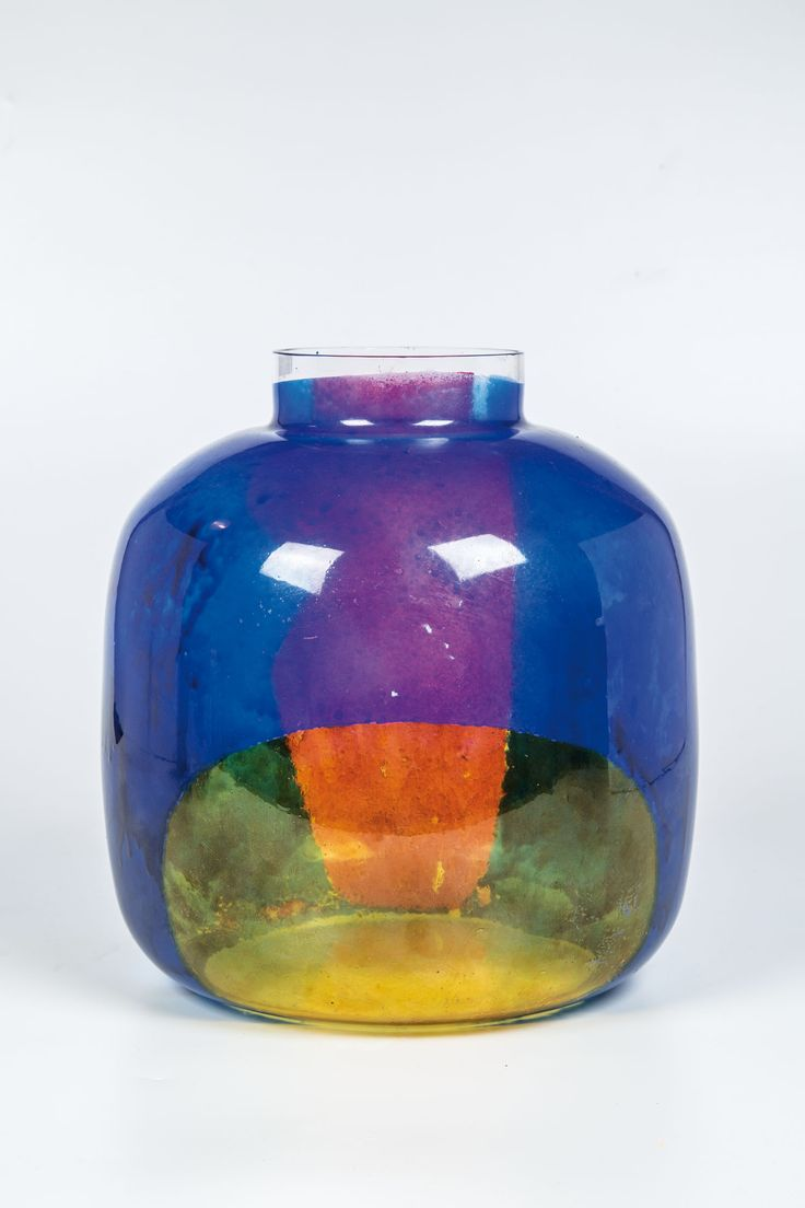 Vladimir Kopecky, Vase - colorless, thin-walled glass with colored by abstract painting, 1960, H: 25,0 cm