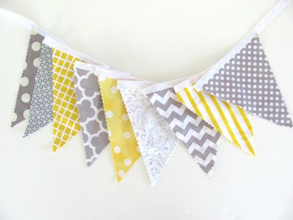 Baby Bunting Fabric Flags Banner Wedding by OvationStudio on Etsy