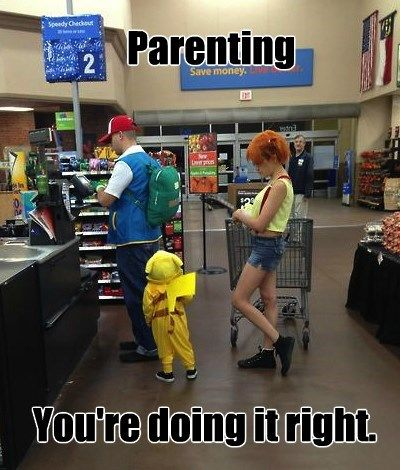 That kid must be so confused about why him/her are in public with his/her parents dressed like this. I would probably be the mastermind behind it.