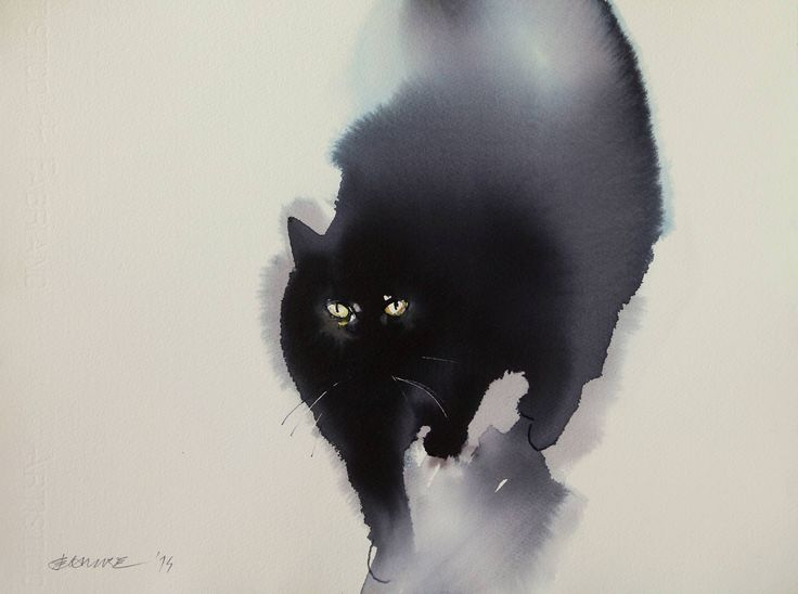 "Saatchi Art Artist: Endre Penovác; Watercolor 2014 Painting ""Cat II."""