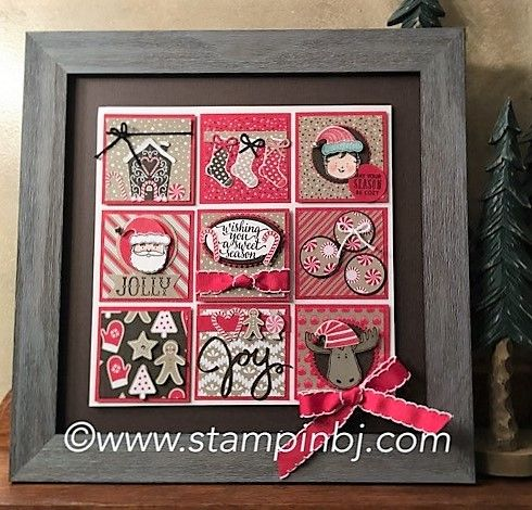 LOVE this frame!  Super easy with the details in the Candy Cane Lane designer series paper - on sale during October!  #stampinbj.com