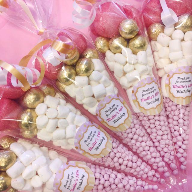 Pre filled Personalised Baby Shower GENDER REVEAL sweet cones