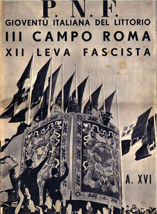 A special issue to commemorate the twelfth encampment of Fascist youths, 52,000 strong, from the very youngest four-and five-year-olds (the Figli della Lupa) to the Fascisti Universitari. The issue includes many photographs of Mussolini and famous quotations.
