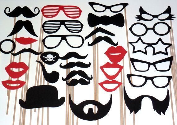 DIY- YOU GLUE - 30 Photo Booth Props Photobooth prop - On a Stick -  Mustache Moustache Party Made to Order via Etsy
