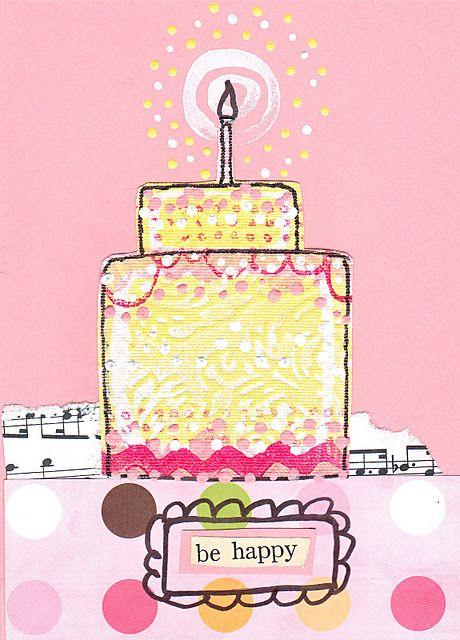 DIY: mixed media birthday card tutorial by Claudine Hellmuth http://claudinehellmuth.blogspot.com/2011/12/happy-birthday-to-me.html #crafts #art: Happy B Day, Happy Birthday, Hbd Art, Bday, Claudine Hellmuth, Birthdays, Birthday Cards, Birthday Greeting, Birthday Cak