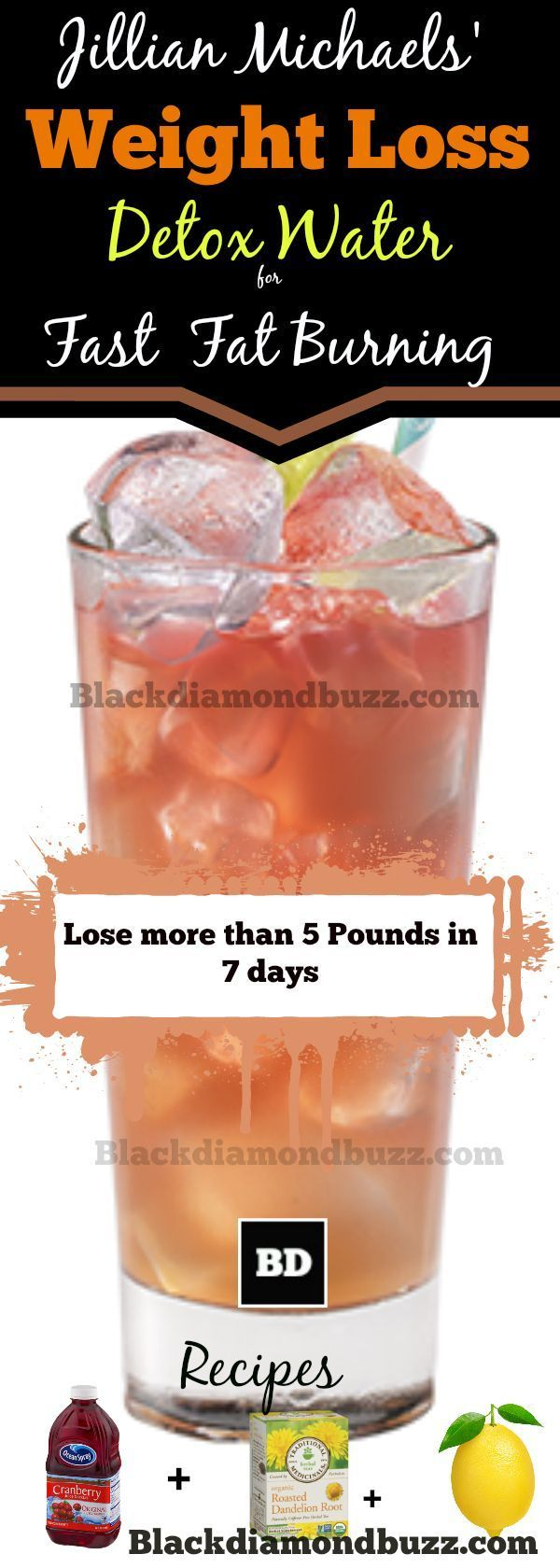 Jillian Michaels' weight loss detox water is a natural diuretic drink made with distilled water, organic dandelion root tea, lemon juice and cranberry juice. It is a 7-day detox drink promoted by Jillian Michaels for quick weight, especially to get rid of