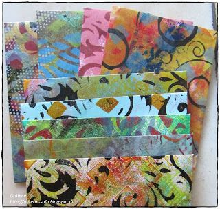 Stempelkrempel: some envelopes (quick post). Hi all ... I spent several hours (!!!) printing away with my gelli plate yesterday (more on that maybe later ...) and made a few envelopes with some of the more 'chaotic' prints.