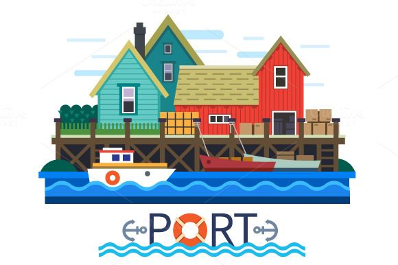 Sea Port. Boats with a cargo by TastyVector on @creativemarket