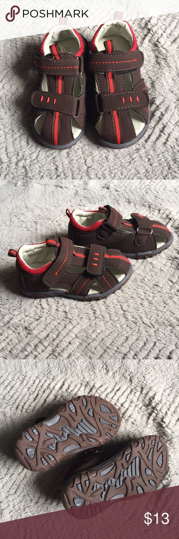 Brown Sandals Brand new boys sandals. Labeled 3 but fit like a 4. Never worn, were too big for my son when he wore a 3 then the summer ended so he never wore them. Luna Shoes Sandals & Flip Flops