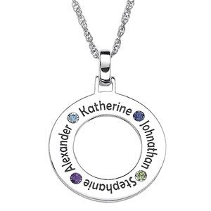 Family Birthstone Circle Pendant Necklace. Sale price: $139.00