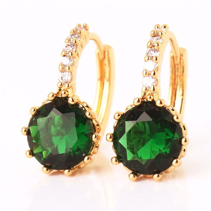 Amazon Green CZ Solitaire White Or Yellow Gold Hoop Earrings