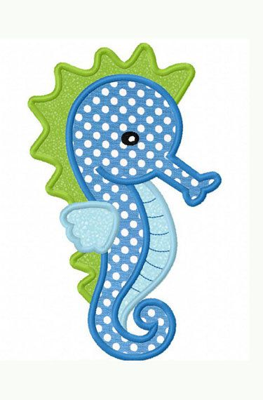 Sea Horse Applique Machine Embroidery Design NO:0022