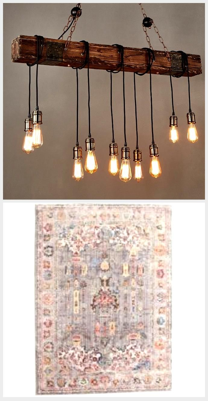 Details about Distressed Wood Beam Large Linear Island Pendant Light 10 Edison Bulb Chandelier