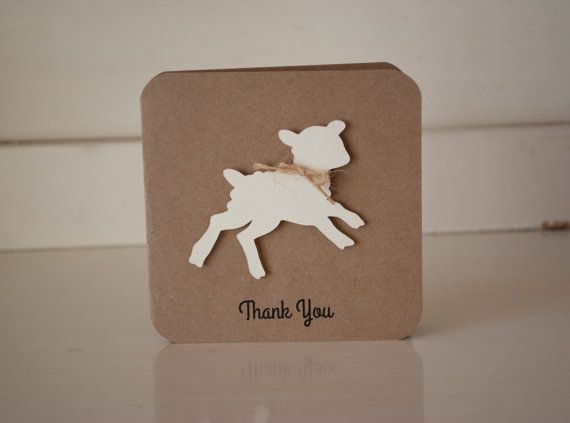 Lamb Baby Shower Thank You Cards Notes Sheep by CardinalBoutique, $74.00