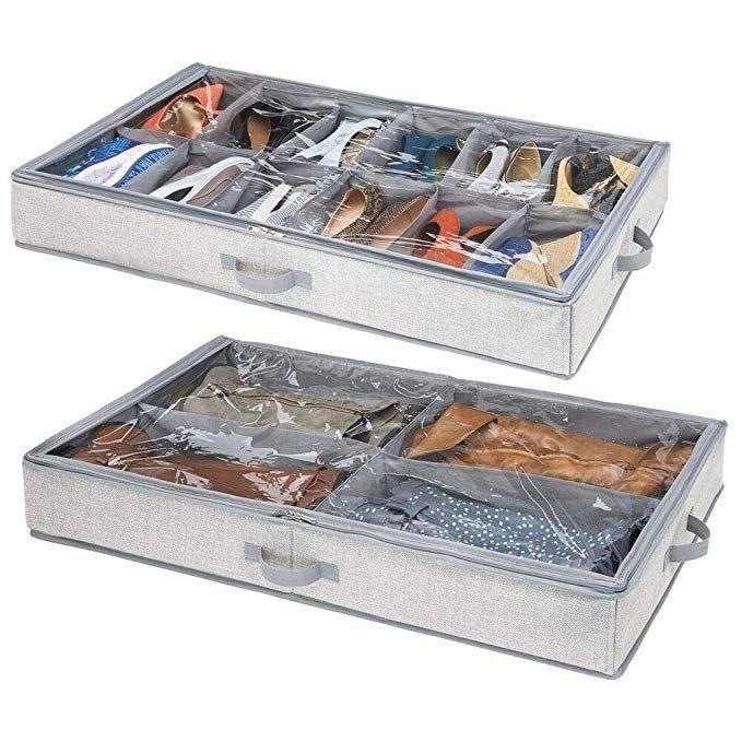 Mdesign Rangement Sous Lit Lot De 2 Boite Rangement Chaussures Une Boite Boite Under Bed Storage Bed Storage Under Bed
