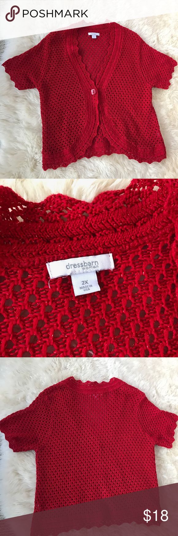 Dressbarn Short Sleeve Cardigan Cute red metallic cardigan with short sleeves and one button closure. Excellent condition! Dress Barn Sweaters Cardigans