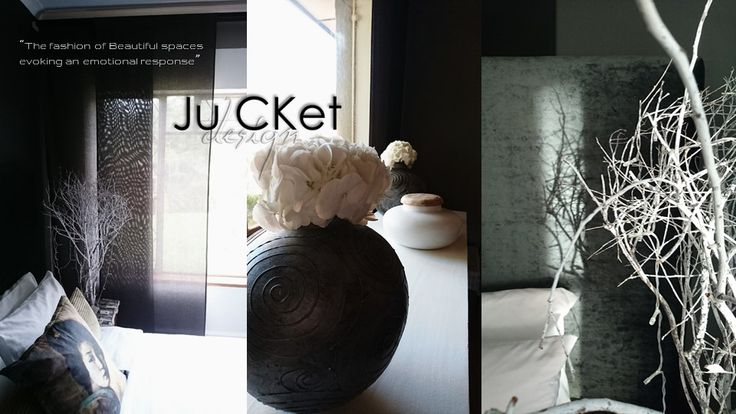 Project and Photography by Ju'CKet DESIGN. Window treatment fabric panel concept by Carol. Fabric panels 100% Cotton in Charcoal. Headboard - Hertex Fabric - Charcoal (Black Diamond)