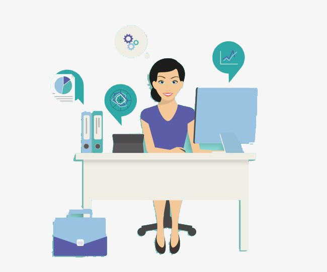 The Lady Sitting In Front Of The Computer Office Secretary Clip Art Computer