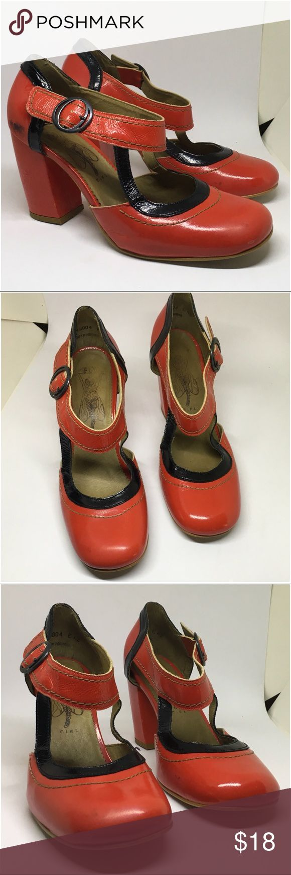 """FLY London red patent shoes size 11 (42) Vintage Inspired FLY LONDON red patent shoes with black details.  They are patent leather. Made in Portugal.  They are not in perfect condition and have a few scuffs that are pictured - BUT they still have ALOT of life and are super cute and unique!  length of insole - 11""""  Width at front of foot - 3.5""""  Width at back of foot - 2.5"""" Heel Height - 3.5"""" Fly London Shoes"""