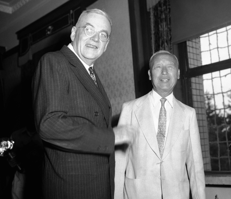 John Foster Dulles (1953-59)  U.S. Secretary of State John Foster Dulles (left) gets together with South Korean President Syngman Rhee in Seoul on August 4, 1953. (Source: U.S. Department Of State)