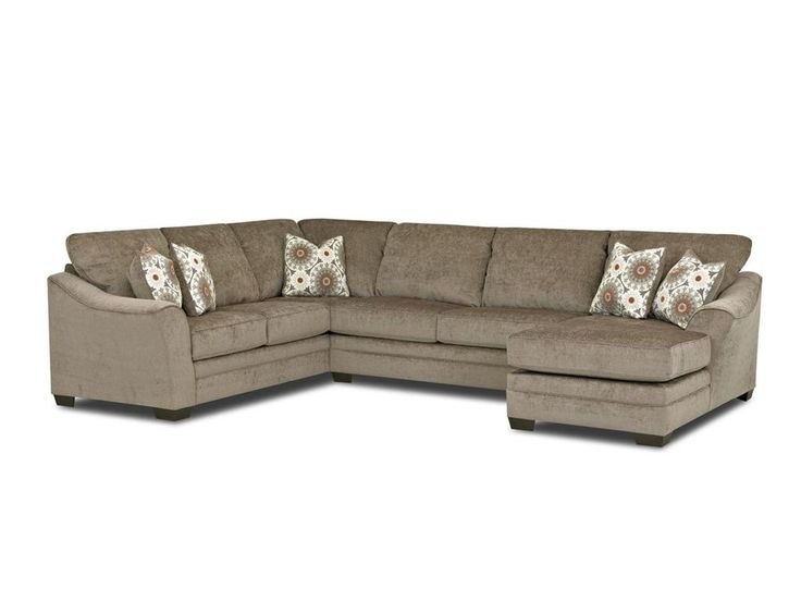 Heston Contemporary Sectional Sofa With Flared Sloped Arms And Right Side Facing Chaise By Klaussner At Stegers Furniture