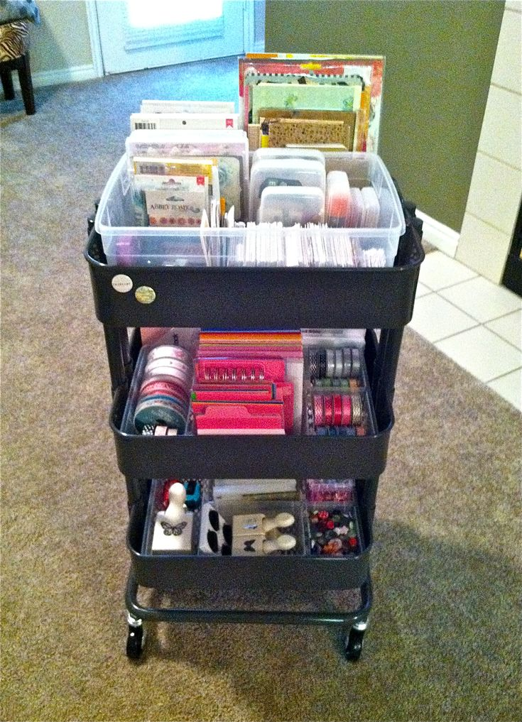 organizing  ikea raskog cart  in dark gray  and antonius divided organizers for project life