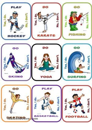 Sport vocabulary through Go fish game, my students´ favourite game. Print pages two times to have a pile. Compeletely editable. Hope you like it! - ESL worksheets
