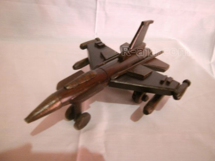 Handicraft Wooden Miniature Aircraft F16 made of Wood.