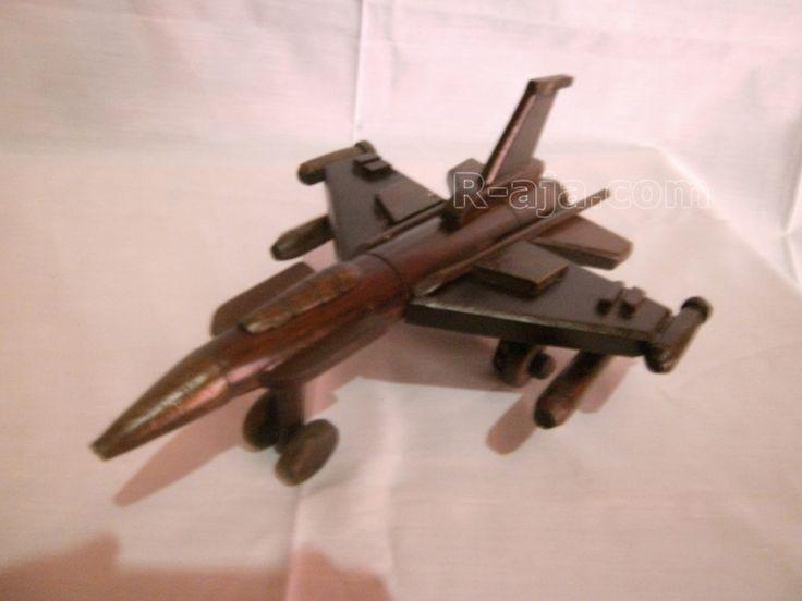 Handicraft Wooden Miniature Aircraft F16 made of Wood.