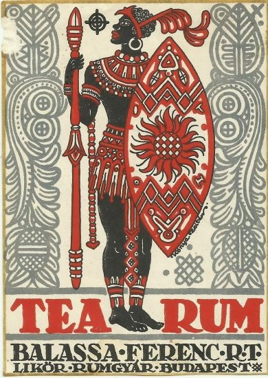 Vintage rum label distillery hungary 1930s art deco