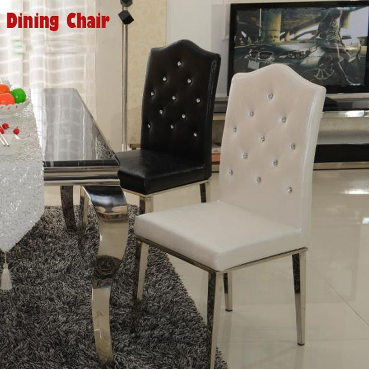 Find More Metal Chairs Information about New 100% Stainless steel+Leather dining chairs,fashion living room dining chair,black and white,Metal Leather furniture,High Quality chair coaster,China chair leg Suppliers, Cheap furniture rocking chair from Oscar life store on Aliexpress.com
