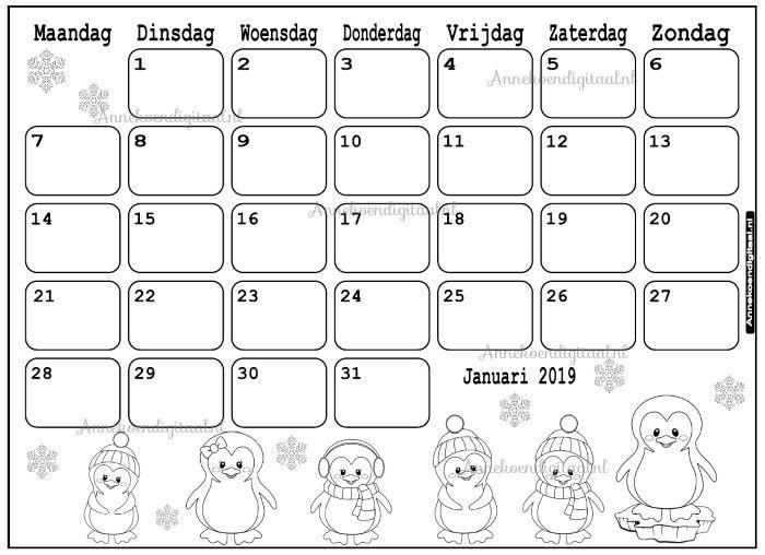 Verjaardag Juf Kleurplaat Januari 2019 Kalender Thema Kleurplaat Aftelkalender