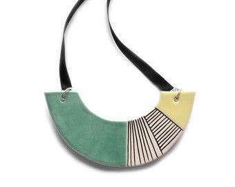 Ceramic necklace, turquoise statement necklace, geometric jewelry, fashion chunky jewellery