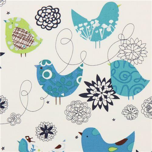 white Alexander Henry animal fabric bird flowers blue