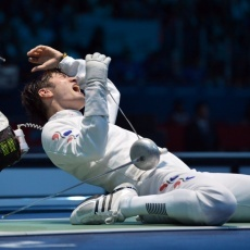 Jung Jinsun (South Korea) and Jorg Fiedler (Germany), Men's Epee, Fencing.
