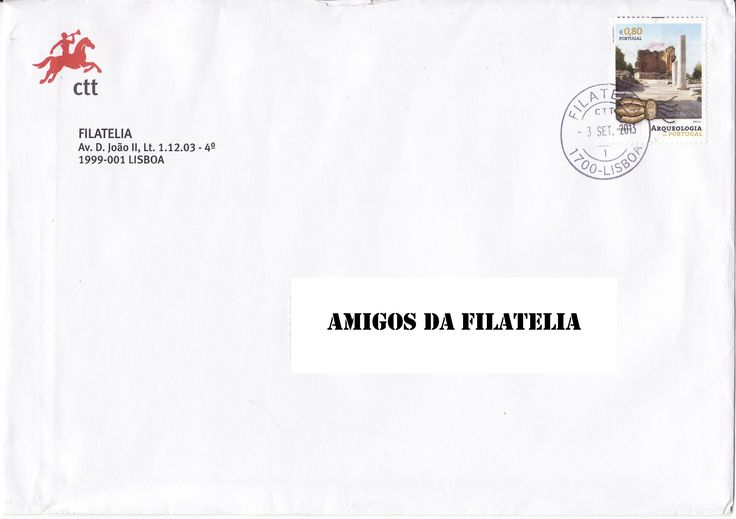Sobrescrito dos CTT circulado em correio normal com selo alusivo à arqueologia colocado em circulação a 21/09/2011