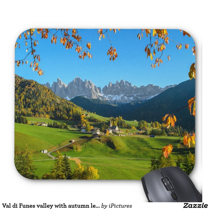 Val di Funes valley with autumn leaves mousepad