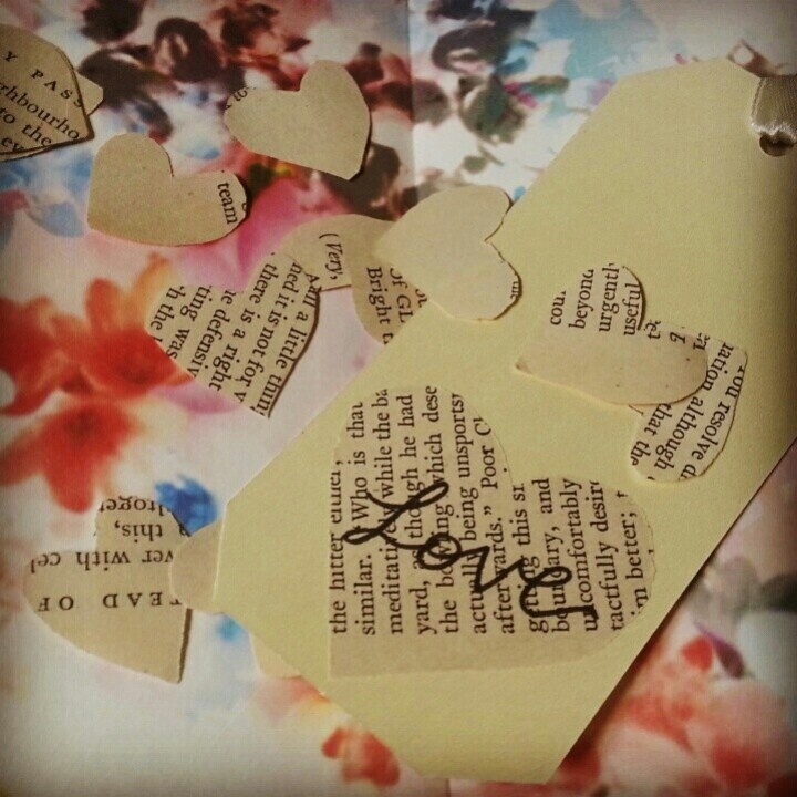 Love heart name tags in old paper