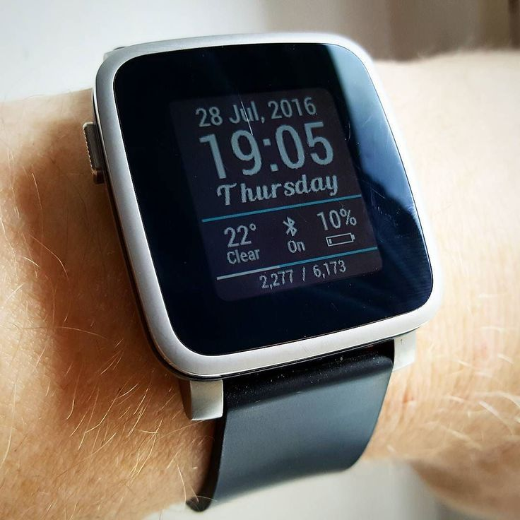 """Aspire"" #Watchface by @zameryth on #PebbleTimeSteel with a black silicone watchband #pebble #smartwatch #pebbletime #watchfaces"